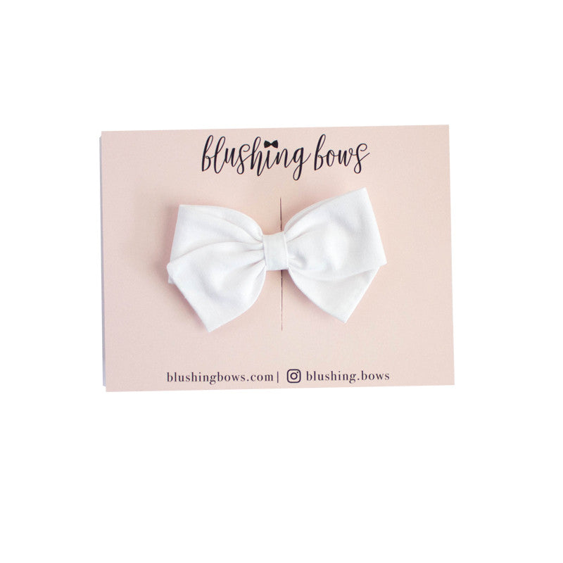 Classic White Bow  | Multiple Styles (Headband or Clip)