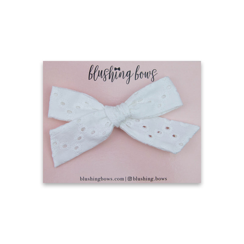 White Eyelet Classic | Multiple Styles (Headband or Clip)
