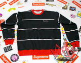 Supreme Striped Crewneck FW17 Black