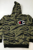 Supreme Champion Pullover Hooded Sweatshirt FW15 Olive tiger stripe