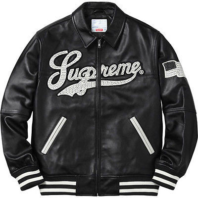 SUPREME TOWN STUDDED LEATHER VARSITY JACKET SS16 BLACK