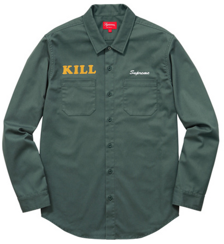 Supreme Kill Work Shirt SS16 Green