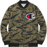 Supreme Champion Snap front Sweater FW15 Olive tiger stripe
