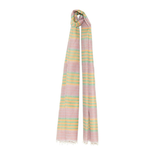 Silk & Cotton Rose Stripe Scarf