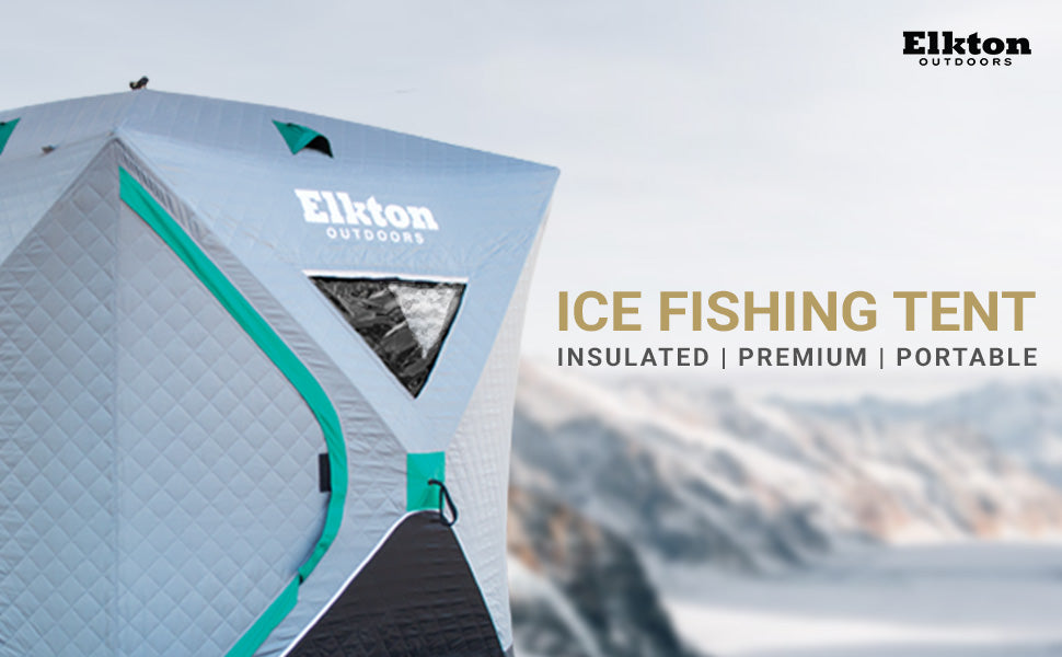 Elkton Outdoors. Ice Fishing Tent, insulated, premium, portable
