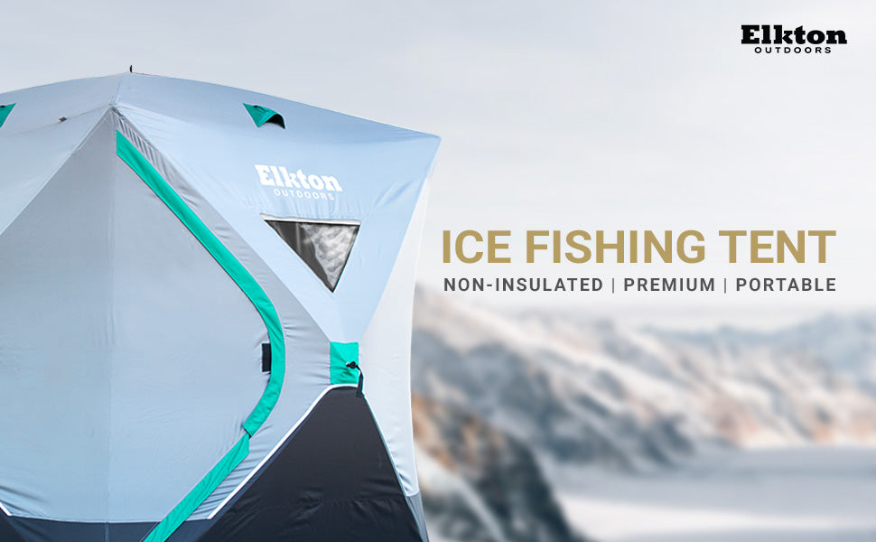 Elkton Outdoors. Ice Fishing Tent, non-insulated, premium, portable