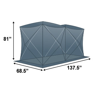 Elkton Outdoors double ice fishing tent exterior dimensions