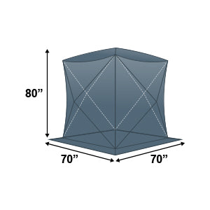 Elkton Outdoors single ice fishing tent exterior dimensions