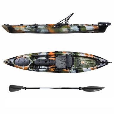 Auklet 12 Foot Single Person Sit On Top Fishing Kayak with SmartTracker Rudder and Aluminum Framed Seat