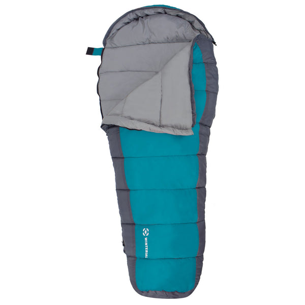 blue youth sleeping bag for camping with kids