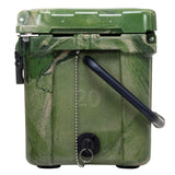 side view of Elkton 20 Quart ice Chest Camo with drain plug