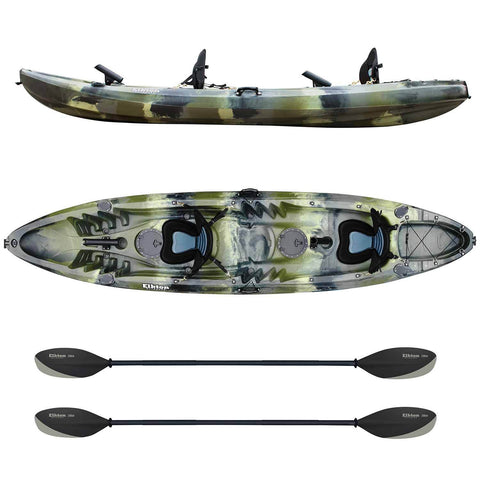 Top And Side View Of Tandem Fishing Kayak With Two Paddles