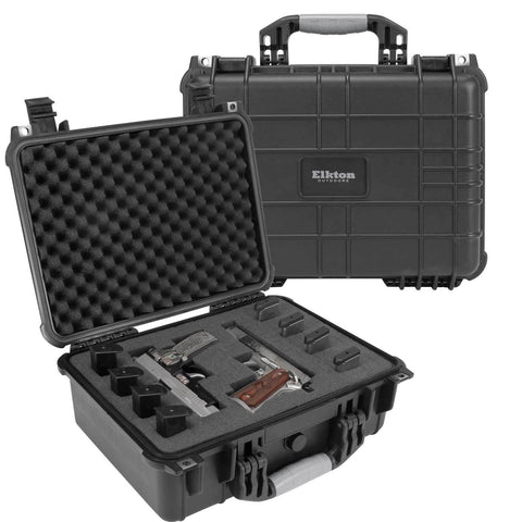 HARD 4 PISTOL GUN CASE WITH LOCKING HOLES & AUTO PRESSURE ADJUSTMENT