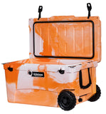 Angled front view Elkton 70 Quart Ice Chest Orange open lid