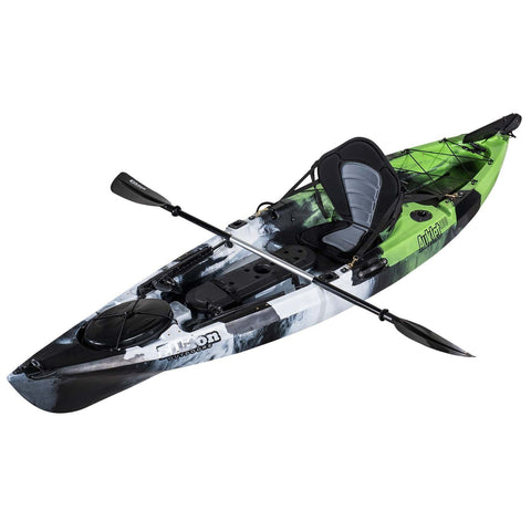 Rudder Operated Fishing Kayak: 10 Feet, Sit On Top, with Paddles, Rod Holders and Dry Storage Compartments