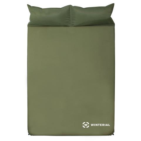 green double self inflating sleeping pad with pillows