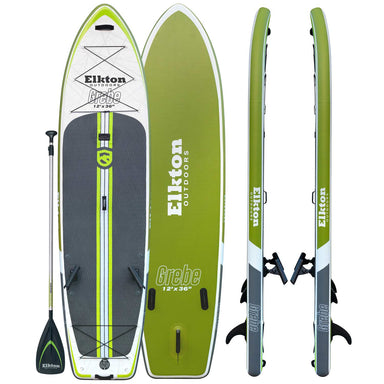 Elkton Outdoors 12' Inflatable Fishing Paddle Board Kit WIth 2 Fishing Rod Holders & Accessory Mount