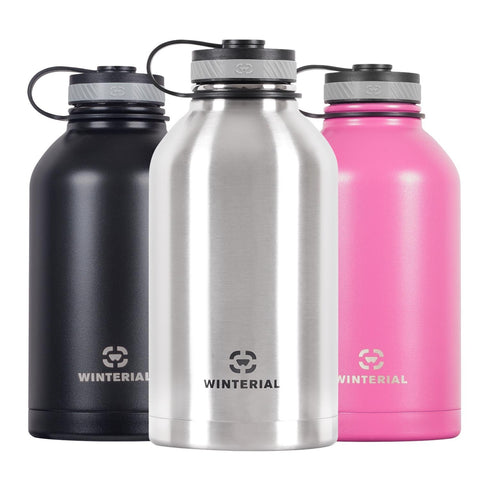 64oz insulated beer growlers in three colors, black, silver and pink