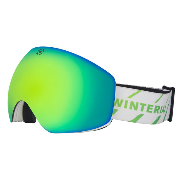 blue frameless ski / snowboard goggles with white straps