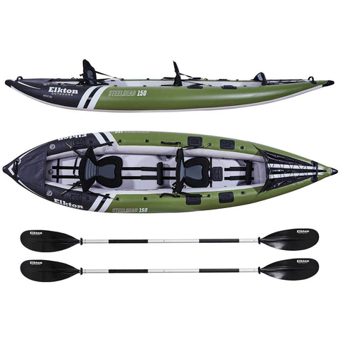 Side and top view of Elkton Outdoors Steelhead Fishing Kayak Two-Person with 2 paddles