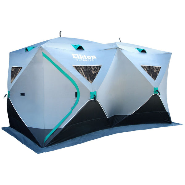 6-8 Person Double Ice Fishing Tent With Ventilation Windows & Carry Pack