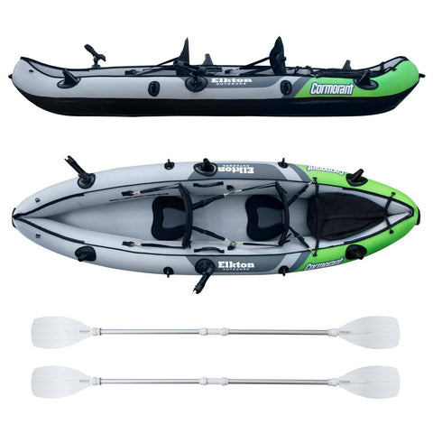 Inflatable 2 Person Fishing Kayak Set With 6 Rod Holders