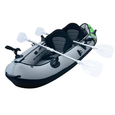 2 Person Fishing Kayak with Paddles Angled to the Left