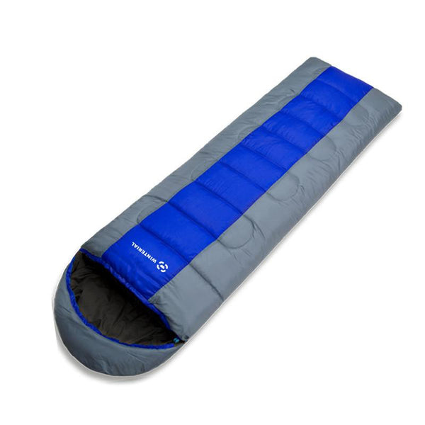 blue sleeping bag for camping and backpacking