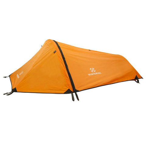 orange single person bivy tent for backpacking