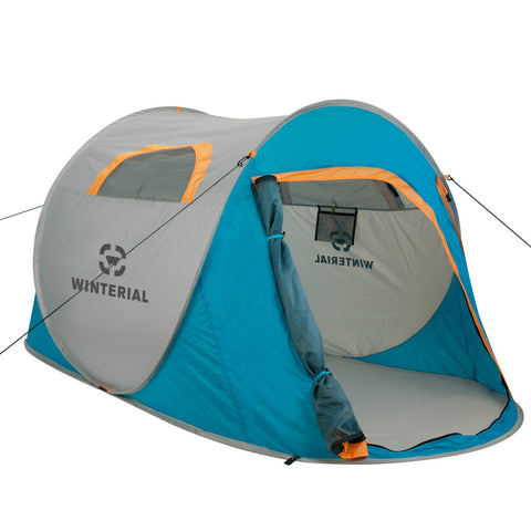 2 person pop up tent, blue and grey with 1 door