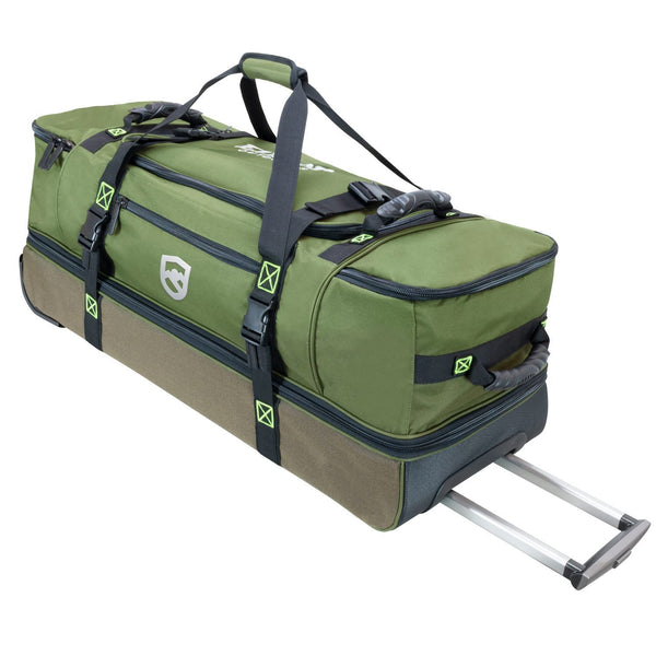 Fishing Duffle Bag Laying Down With Handle Extended