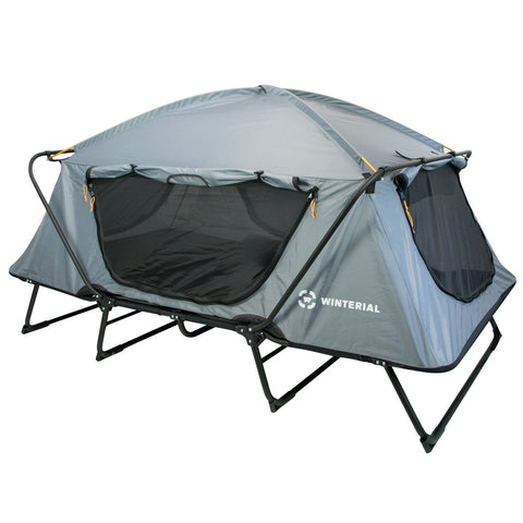 2 person oversize tent cot in grey with mesh doors