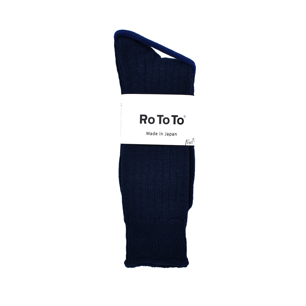 ROTOTO Low Gauge Slub Sock Navy
