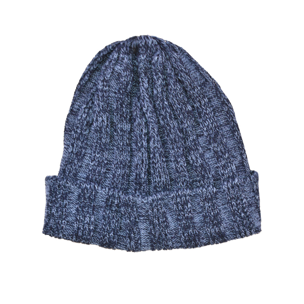 Indigo & Linen Knit Cap (Light Indigo)