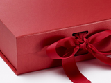 Will You Be My Groomsman? Proposal Box Red - Silver Font w/ Bow-Gift Box