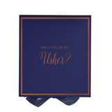 Will You Be My Usher? Proposal Box Navy Blue - Rose Gold Font w/ Navy Blue Bow
