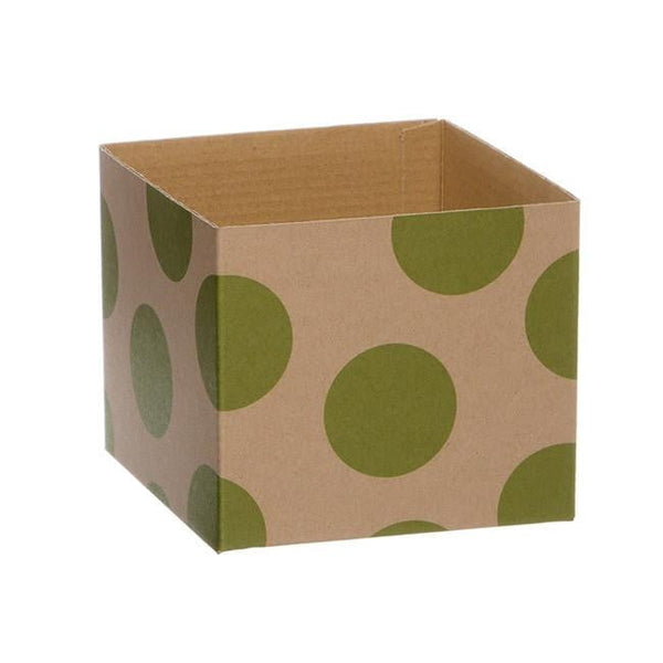 Kraft Mini Posy Box Polka Dots Lime (13x12cmH)-Gift Box