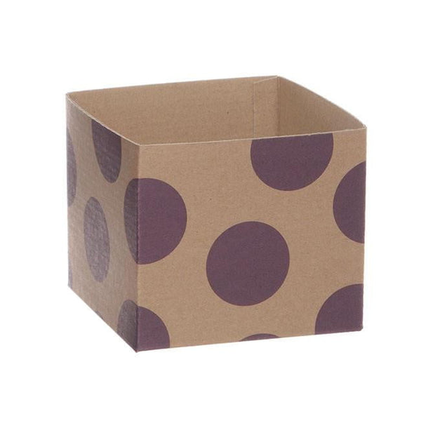 Kraft Mini Posy Box Polka Dots Violet (13x12cmH)-Gift Box