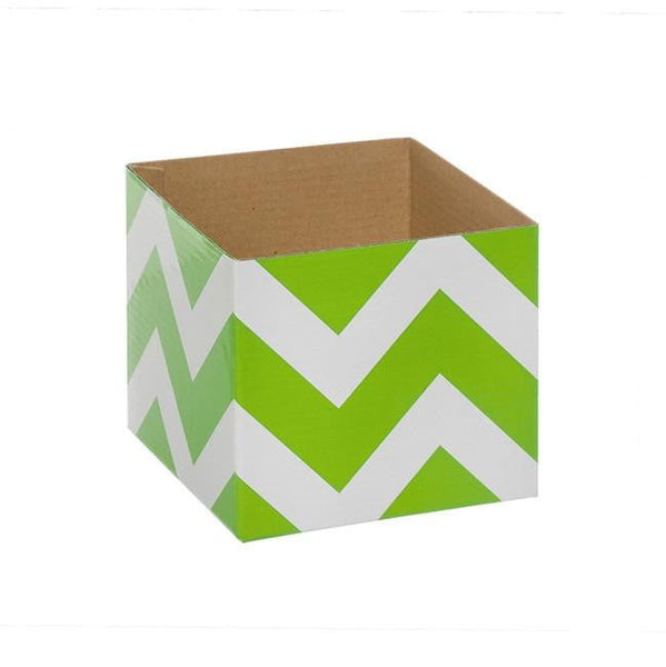 Bold Chevron Mini Posy Box Lime (13x12cmH)-Gift Box