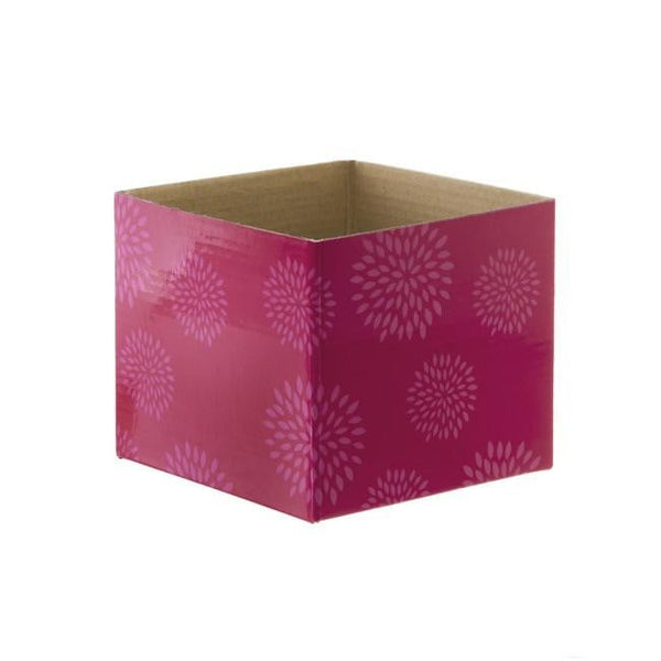 Mini Posy Box Geometric Flowers Hot Pink (13x12cmH)-Gift Box