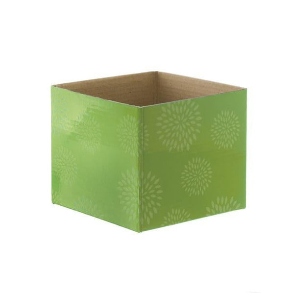 Mini Posy Box Geometric Flowers Green (13x12cmH)-Gift Box