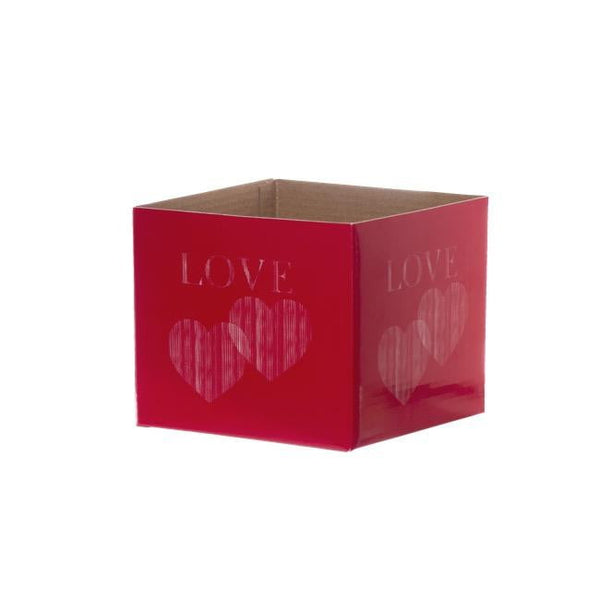 Posy Box Mini Love 2 Hearts Red White (13x12cmH)-Gift Box