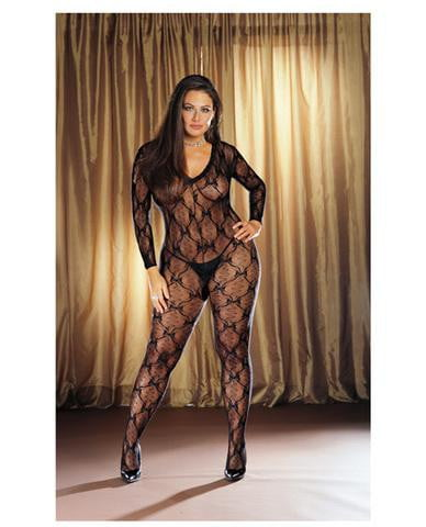 Long sleeve bow design open crotch bodystocking black qn-Lingerie