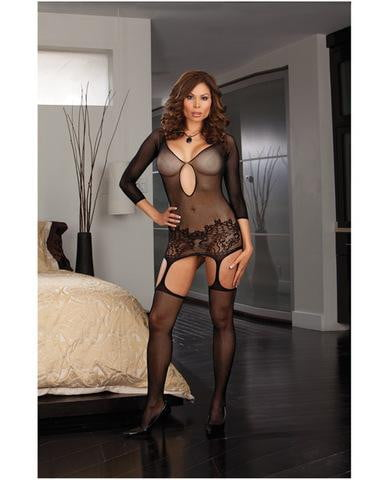 Fishnet garter dress w/lace hem and attached thigh highs (thong not included) black qn-Lingerie