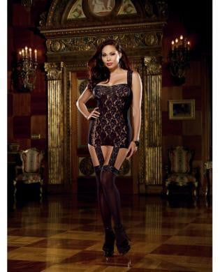 Lace Garter Dress Attached Stockings Black Queen-Lingerie