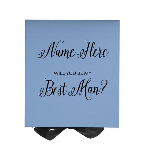 Personalized Will You Be My Best Man Box? Proposal Box Light Blue w/ Bow Blk - No Border-Sensual Baskets | Romance Baskets With Benefits