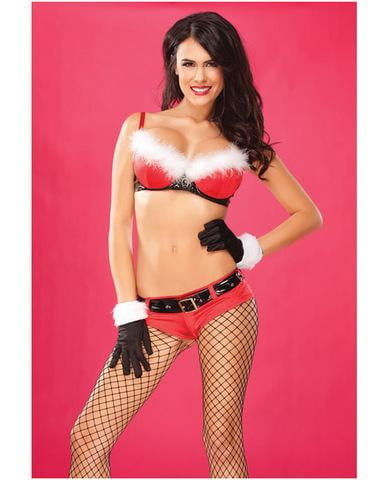 2 pc holiday molded lycra and pvc bra w/marabou and booty short red lg