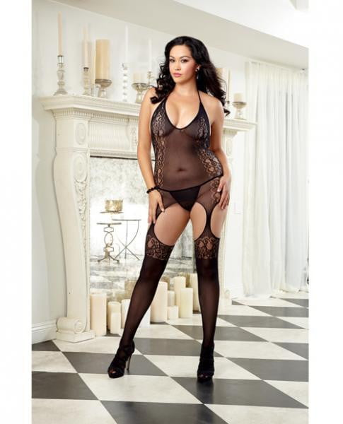 Sheer Halter Garter Dress & Thigh Highs Black Queen-Lingerie