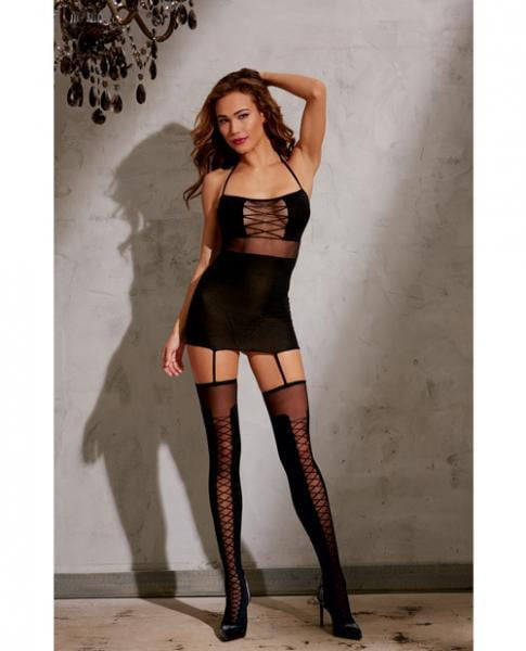 Sheer Garter Dress Halter Ties Garters & Thigh Highs Black O/S-Lingerie