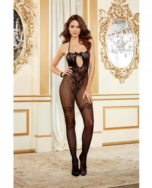 Bodystocking Lace & Bow Accents Black O/S-Lingerie